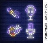 radio presenter and microphones ... | Shutterstock .eps vector #1366448447