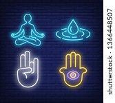 person meditating  mudra... | Shutterstock .eps vector #1366448507