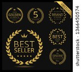 golden laurel wreath label... | Shutterstock .eps vector #1366450574