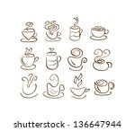 cup silhouettes. coffee and tea | Shutterstock . vector #136647944