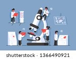 doctors with microscope in... | Shutterstock .eps vector #1366490921