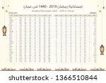 imsakia or amsakah ramadan 1440 ... | Shutterstock .eps vector #1366510844