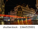 night view of a typical cobbled ...   Shutterstock . vector #1366525001