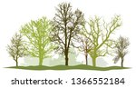 trees without leaves. spring... | Shutterstock .eps vector #1366552184