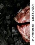 raw meat steak on a black...   Shutterstock . vector #1366564004