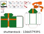 green paper box template gift... | Shutterstock .eps vector #1366579391