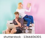 couple with different interests ... | Shutterstock . vector #1366606301