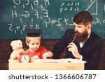 hometask concept. father... | Shutterstock . vector #1366606787
