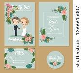 cute couple in tropical wedding ... | Shutterstock .eps vector #1366615007