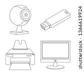 bitmap illustration of laptop... | Shutterstock . vector #1366619924