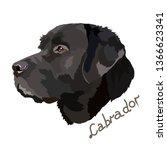 black labrador vector image | Shutterstock .eps vector #1366623341