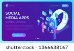 social media apps on a smart... | Shutterstock .eps vector #1366638167