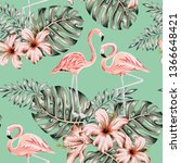 tropical pink flamingo ... | Shutterstock .eps vector #1366648421