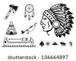 indians icons set | Shutterstock .eps vector #136664897