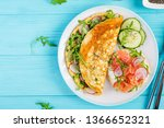 breakfast. omelette with radish ... | Shutterstock . vector #1366652321