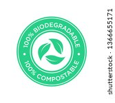 100  biodegradable and... | Shutterstock .eps vector #1366655171