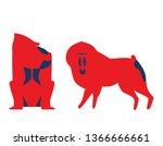 vector illustration of baboon.... | Shutterstock .eps vector #1366666661