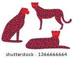 vector illustration of cheetah. ... | Shutterstock .eps vector #1366666664