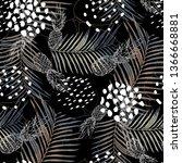 seamless pattern tropical... | Shutterstock . vector #1366668881