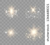 gold glow light set with white... | Shutterstock .eps vector #1366688321