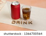 red soda can with a glass... | Shutterstock . vector #1366700564