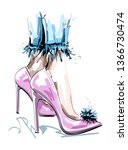 hand drawn stylish pink shoes... | Shutterstock .eps vector #1366730474