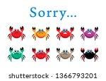 cute crab sorry card vector | Shutterstock .eps vector #1366793201