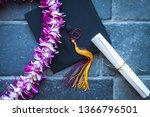 graduation diploma  mortarboard ... | Shutterstock . vector #1366796501