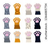 Stock vector set of different paw cat s hands of different colors white black red grey animal with fur 1366885754