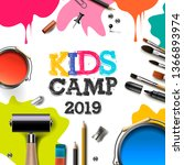 kids art camp 2019  education ... | Shutterstock .eps vector #1366893974