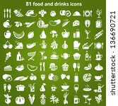 set of food and drinks icons.... | Shutterstock .eps vector #136690721