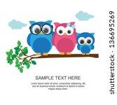 owl family on branch | Shutterstock .eps vector #136695269