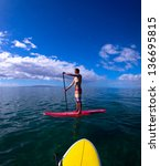stand up paddle boarder... | Shutterstock . vector #136695815