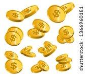 coins golden money jackpot luck ... | Shutterstock .eps vector #1366960181