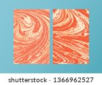 set of vector living coral and... | Shutterstock .eps vector #1366962527