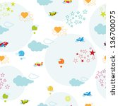 cute seamless pattern with... | Shutterstock .eps vector #136700075