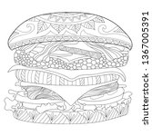 hamburger coloring page... | Shutterstock .eps vector #1367005391