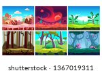flat vector set of 6 colorful... | Shutterstock .eps vector #1367019311