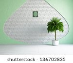 the empty room with plant near... | Shutterstock . vector #136702835