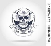 sketch  skull with cowboy hat ... | Shutterstock .eps vector #1367028524