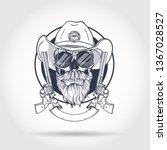 sketch  skull with cowboy hat ... | Shutterstock .eps vector #1367028527