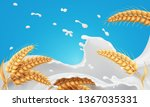 wheat ears spikelets with... | Shutterstock .eps vector #1367035331