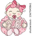 pink baby holding a signboard...   Shutterstock .eps vector #1367045861