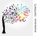 vector tree with musical notes...   Shutterstock .eps vector #136704671