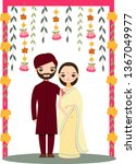 cute indian wedding couple for... | Shutterstock .eps vector #1367049977