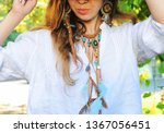 female neck jewelery  leather... | Shutterstock . vector #1367056451