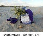 beach bag on a wild sandy beach   Shutterstock . vector #1367093171