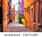 Colorful Street In Burano  Nea...