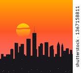 city sunset flat vector... | Shutterstock .eps vector #1367158811