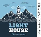 lighthouse emblem in vintage... | Shutterstock .eps vector #1367161481